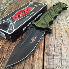 """RAZOR TACTICAL Rescue 8.5"""" Spring Assisted Open BOWIE TACTICAL Pocket Knife GN"""