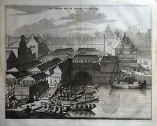 Amsterdam, gran mar y río Fish Market Commelin Original Antigua de impresión de 1693