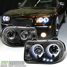 Blk 2005-2010 Chrysler 300C LED Dual Halo Projector Headlights 05-10 Left+Right