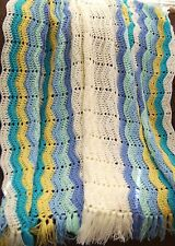 NEW HAND CROCHET BLUE CREAM AQUA YELLOW RIPPLE AFGHAN LAP BLANKET LAPGHAN THROW