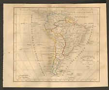 CARTE DUFOUR AMERIQUE DU SUD EN 1828 SOUTH AMERICA OLD MAP 1830