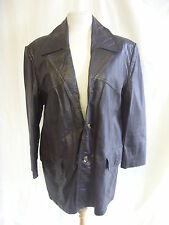 """Mens Coat Jacket - Unknown, M, 40"""" chest, brown, leather, 70's, vintage - 1317"""
