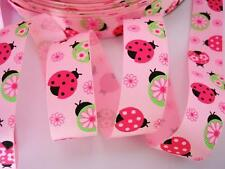 "10 yards Ladybug+Flower Grosgrain 7/8"" Ribbon/Craft/Polyester R16-Pink OR White"