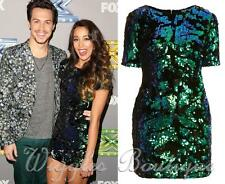 Topshop Petite Limited Edition Sequin Velvet Shift Dress - Green UK10/EU38/US6