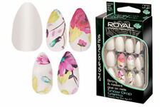ROYAL 24 STILETTO FALSE NAILS TIPS WHITE & FLOWER DESIGN NAIL TIP SNOW DROP