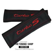 SEAT BELT COVERS BLACK LEATHER RED EMBROIDERY TURBO S FOR PORSCHE