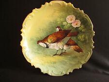 ancien grand plat porcelaine de Limoges peint main perdrix G. Pibop Art nouveau