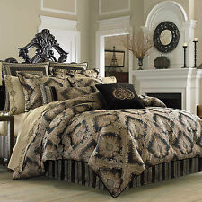 NIP J. Queen Onyx Black Medallion Polyester Cal King Comforter Set 6pc