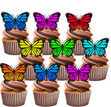 Pretty Butterflies -  Edible Stand Up Cup Cake Toppers Decorations (pack of 36)
