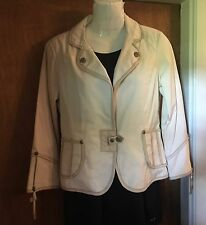"NEW ""MY TRIBE"" Ivory Jacket- Leather Trimmed - High  End Styling - Size Small"