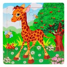 Wooden Kids Cute Deer 16 Piece Jigsaw Toys Children Education Learning Puzzles