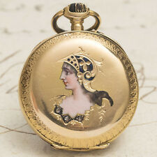 Antique 1900s 18k GOLD, ENAMEL & DIAMONDS Lady Pocket Watch