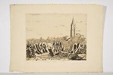 Gravure Eau-forte XX° S M. GUIMARD Saintes, Arènes Gallo-Romaines et ST Eutrope