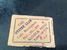 old match box top - the oyster club middle road singapore