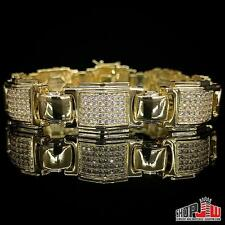 Mens 14k Yellow Gold Plated Simulated Diamond Bracelet Hip Hop Fashion Chunky