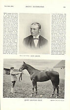 1896 racing illustrated print - tom smith & queen glencoe filly .horses on back