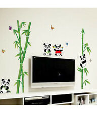 Wall Stickers Nursery School Kids Room Cute Little Animals Panda on Bamboo Trees