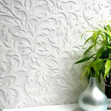 Brewster 437-RD80026 Paintable High Leaf Paintable Textured Vinyl Wallpaper