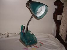 "Gooseneck Blue/Silver Electric Organizer Desk Lamp with Accessory Holder 17"" H"