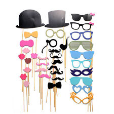 36PCS DIY Face Funny Masks Photo Booth Gatsby Props Mustache On A Stick Party
