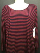 NWT LIZ LANGE BERRY/NAVY STRIPE LONG SLEEVE MATERNITY DRESS XL