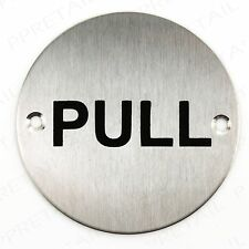 """CIRCULAR DOOR PULL SIGN 75mm/3"""" Notice Plate For Shops/Cafe/Work/Business/Office"""
