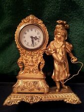 Antique WATERBURY Figural Guilded Clock In Natural State - Not Painted
