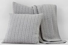 "Bloomingdale's 1872 Cable Knit 50""x70"" Throw Blanket GRAY Msrp $230 B1062"