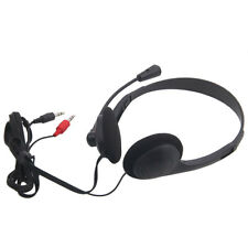 New 3.5mm Stereo Headset Headphone gaming Microphone for Notebook Computer Black