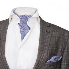 Mens Premium Ascot Classic Lilac & White Paisley Cotton Cravat Handkerchief Set