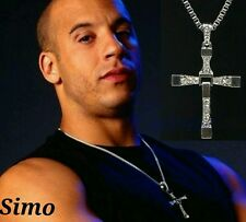 COLLANA CATENA UOMO FAST AND FURIOS FILM VIN DIESEL PENDENTE CROCE  TORETTO SEXY