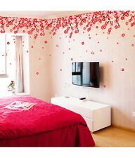 Wall Stickers Flowers Pink & Red Romantic Cherry Wedding Decoration Living Room