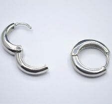 Shiny 925 Sterling Silver Plated Smooth Plain Simple Huggie Hoop Earrings Gift