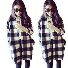 New Fashion Women Long Sleeve Plaid Shirt Checks Ladies Korean Top Button Blouse