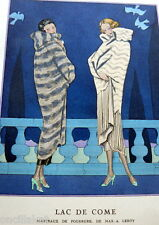RARE 1920s Art Deco GAZETTE BON TON Pochoir Fashion Print & Mat Max-Leroy 1924
