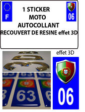 1 sticker plaque immatriculation MOTO TUNING 3D RESINE  BLASON PORTUGAL DEPA 06