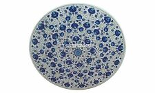"""36"""" White Marble Dining Table Lapis Inlay Mosaic Floral Ornate Decor Arts H3019A"""
