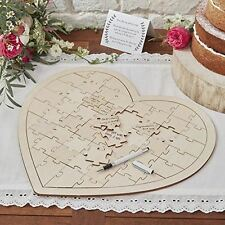 Ginger Ray Boho Wooden Heart Shaped Jigsaw Puzzle Wedding Guestbook