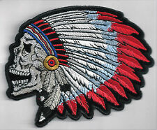SCREAMING INDIAN CHEIF SKULL - IRON or SEW-ON PATCH
