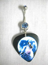 NEW GRAY WOLF FULL MOON PRINTED GUITAR PICK ON 14g DBL BABY BLUE CZ BELLY RING