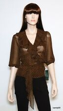 Nwt $109 RALPH LAUREN Ruffle Wrap Blouse Shirt Top ~Brown/Black *L-PT