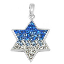 Sterling Silver & Synthetic Crystal Magen David (Jewish Star) Pendant
