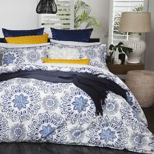 Logan and Mason BALI INDIGO Blue Queen Size Bed Doona Duvet Quilt Cover Set NEW