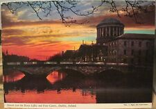Irish Postcard Sunset RIVER LIFFEY at FOUR COURTS Dublin Ireland John Hinde 2/78