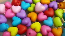 50 Perlen Kunststoff 9 x 10 mm Herz Herzen bunt Farbmix Basteln Deko Armband