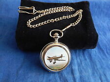 JUNKERS JU87 STUKA GERMAN DIVE BOMBER CHROME POCKET WATCH WITH CHAIN (NEW)