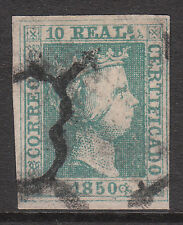 SPAIN 1850 Mi#5 Sg#6 FINE USED IMPERF BLUISH GREEN THICK PAPER ISABELLA STAMP
