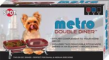 Ethical Pet Dog Cat Ceramic Food Water Twin Bowl Stand - Spot Metro Double Diner