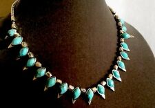 Lucky Brand Turquoise Necklace / Choker with Silver Tone Beads NWT $45