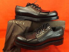 NIB GUCCI BLACK HARRISON GOODYEAR LEATHER FRINGE BROGUE LACE OXFORDS 9.5 10